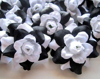 24 Black White mini Roses Heads - Artificial Silk Flower - 1.75 inches - Wholesale Lot - for Wedding Work, Make clips, headbands