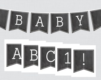 Chalkboard Baby Shower Banner Printable Garland with ALL Letters and Numbers - DIY Customizable Banner - Chalkboard Collection