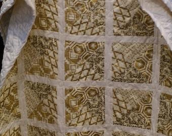 """Gold and Cream Lap Quilt 53""""x39"""""""