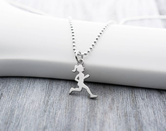Runner Girl Necklace, Running Necklace, Sterling Silver, Running Jewelry, Marathon Necklace, Runner Necklace, Runner Charm, Track and Field