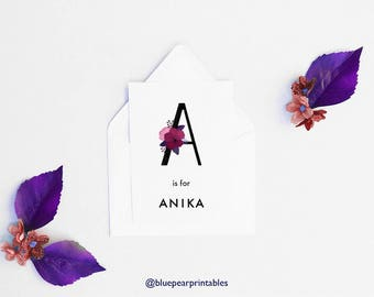 Anika Unique Wedding Favor Personalized Room Decor Floral Lettering 5x7 Art Print Floral Watercolor Kids Poster Name Cards Wedding