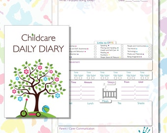 EYFS Early Years Daily Diary Record Book, Childminding Log Book, Childminders Diary, Nursery Diary, Early Years Settings Journal. 10