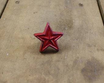 Red Cast Iron Star Drawer Knob Pull Handle