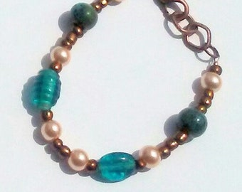 Teal and Pink Glass Pearl Bracelet