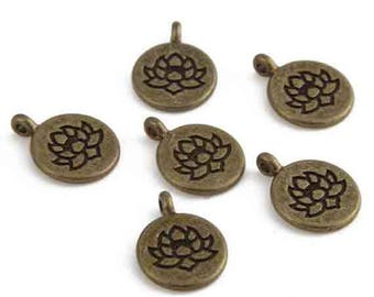 Lotus Flower charm, bronze metal, 15 mm, set of 2 Pcs
