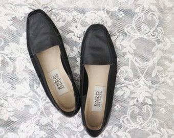 vintage black loafers - size 6 - vintage Enzo Angiolini - minimal, leather, suede - women's size 6