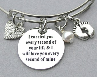 I Carried You Every Second Of Your Life & I Will Love You Every Second Of Mine, Swarovski Crystal/Pearl, Memorial Charm Bangle, Miscarriage,