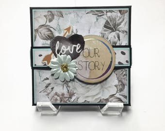 Love Themed Accordion Style Mini Photo Album, Love Accordion Scrapbook