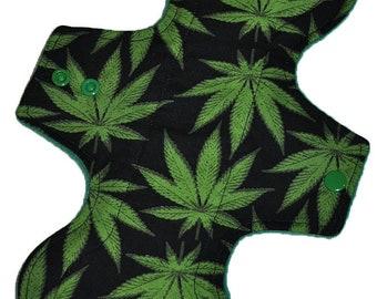 Moderate Hemp Core- Marijuana on Black Reusable Cloth Overnight Pad- WindPro Fleece- 10.5 Inches (26.5 cm)