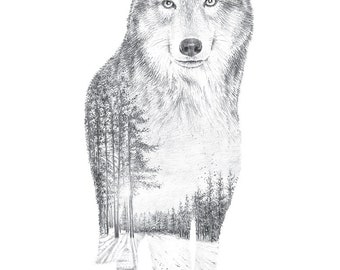 Wolf Pencil Drawing - Faunascapes by WhatWeDo