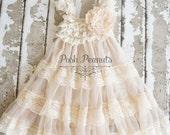 Lace Flower Girl dress- Flower Girl Dresses- Champagne flower girl dress- Lace dress- Rustic Girls Dress- Baby Lace Dress- Junior Bridesmaid