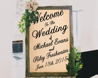 PRINTABLE (Print It Yourself) Large Custom Wedding Sign // Welcome Wedding Sign // Vintage Wedding Sign