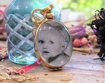 gold vertical oval memory glass locket photo locket heirloom keepsake necklace 14 karat gold fill large