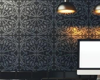 Tin Tile Allover Wall Stencil