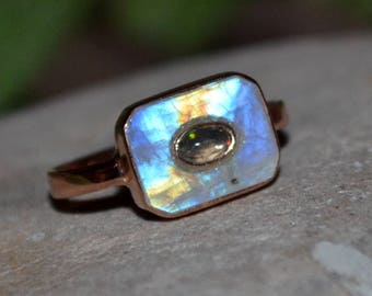 Beautiful Moonstone and Opal Silver Ring - Handmade Ring - Gift for her