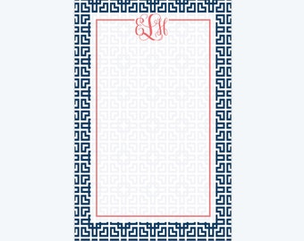 "Personalized Notepad with Monogram -  Monogram Stationery - 5.5"" x 8.5"""