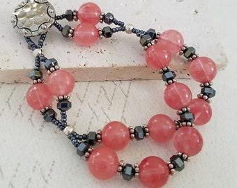 Cherry Quartz & Hematite Bracelet, 2-Strand Bracelet