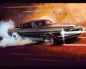 1968 Ford Shelby GT 500 Automotive Art 12x18 Metallic Print