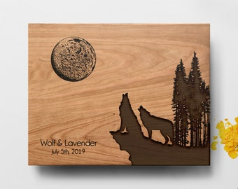 Two Wolves Cutting board, Housewarming Gift, Personalized board, Custom Cutting Board, Wedding Gift Cutting board, Engraved Cutting Board