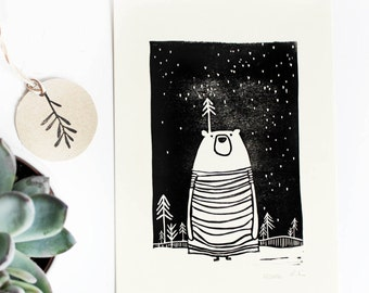Linocut bear in the forest, illustration children's room