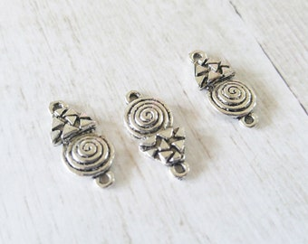 Silver Charms Connectors Antiqued Silver Geometric Charms Swirl Charm Connectors Silver Pendant Links 2 Hole Charms 3pcs