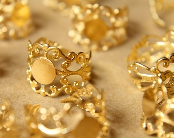5 pc. Raw Brass Adjustable Filigree Rings, 7.5mm pad | FI-178