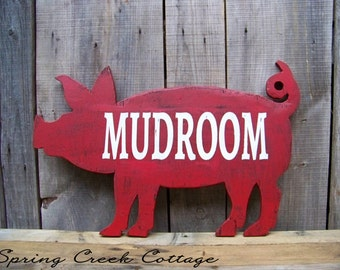 Pigs, Wood Signs, Mudroom, Handcrafted, Rustic, Pig Silhouette Sign, Farmhouse Decor, Farm, Country Decor