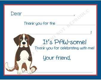 Dog Fill In Thank You Notes- Kids- Children- Puppy Stationery- Dog Birthday Party, Dog thank you notes