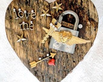 LOVE ME – Salvaged Wood Heart