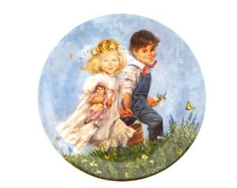 Jack and Jill Plate, Mother Goose Series, Collector Plate, Vintage Art Plate, Porcelain Plate, Porcelain Art, Reco Art, John McClelland