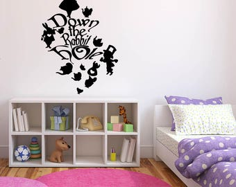 Wall Sticker Decals Alice In Wonderland Cartoon Rabbit Tea Time Cheshire Cat Girl Nursery Bedroom 1394b