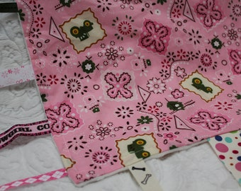 Pink Tractor Baby Blanket with Ribbons