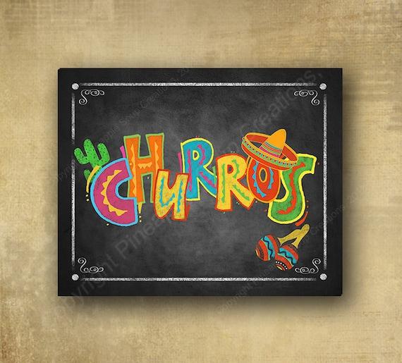 Fiesta Churros Printed chalkboard looking sign, Fiesta party signage, graduation sign, wedding sign, Grad sign, birthday sign, Dessert sign