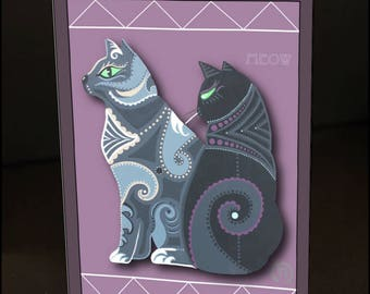 """Meow Two Cats #1 4.25"""" x 6"""" Blank Greeting Card"""