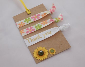 Flower Hair Ties - Thank You Hair Ties - Party Favors - Pink, Green and Orange Flowers