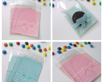 10 pockets bow 8cmx12.4cm transparent gift bags