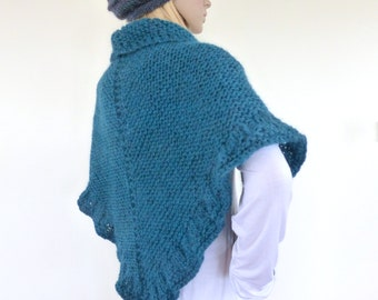 Knit shawl, Teal hand knitted wrap, Knit Cape , Gift for her, Chunky knit shawl wrap in teal green ON SALE