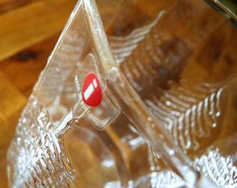 "Iittala (Finland) ""Kuusi"" Glass Vase--Jorma Vennola Design--Original Sticker--5-3/4"" High x 3-3/4"" Diameter"