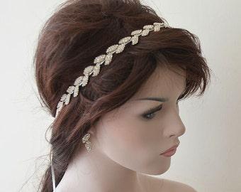 Bridal Hair Accessory, Rhinestone headband, Wedding hair Accessory, Leaf Motif With Ribbons, Silver Color Rhinestone
