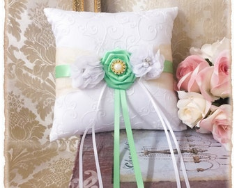 Ring Bearer Pillow,  Wedding Ring Pillow, Mint Ring Bearer Pillow