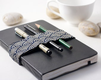Journal Bandolier // Zen Garden Navy // (a better pencil case, journal pen holder, book strap, pen loop, pencil roll, pen bandolier)