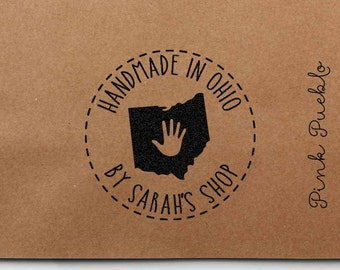 Personalized Handmade in Your State Rubber Stamp - Customize Text and State