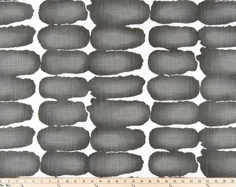 Dark grey Shibori Dot Print. Ink  and white Premier Prints.   Slub canvass Fabric by yard. Medium decor fabric.