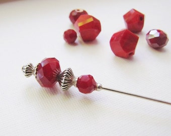 Red Coral Hatpin, Silver Plated Hijab Pin, Stick Pin