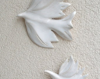 Two doves .  Hanging on the wall sculpture.Wall decor .Wall art ceramic birds.