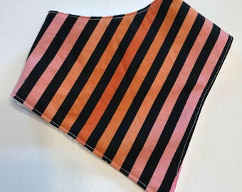 Pink & Orange Stripes Bandana Bib