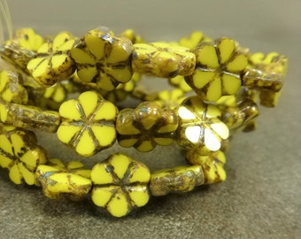 Yellow Picasso Table Cut Czech Glass Flower 10mm 10pc Etched