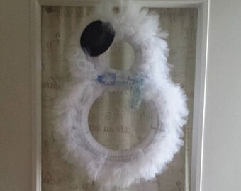 Snowman Tulle Wreath with Top Hat and Scarf (Choose your color)