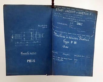French industrial engineering blueprint, no. 2057 circa 1930s. Wonderful dark teal colour. Size: 16.25 x 11 inches, 412 x 280 mm.