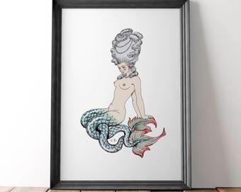 Vintage Mermaid Art - Mermaid Art - Nautical Art - Bathroom Decor - Turquoise Art - Mermaid Poster - Abstract Art - Nautical Bathroom Art